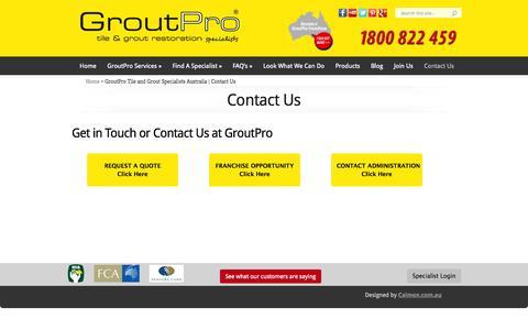 Screenshot of Contact Page groutpro.com.au - GroutPro Tile and Grout Specialists Australia   Contact Us - captured Sept. 23, 2014