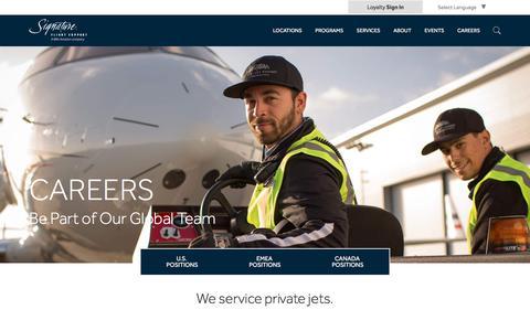Screenshot of Jobs Page signatureflight.com - Signature Flight Support | Start Your New Career in Aviation - captured Oct. 9, 2017