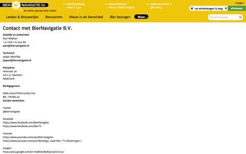 Screenshot of Contact Page biernavigatie.nl - Contact - captured Oct. 5, 2014