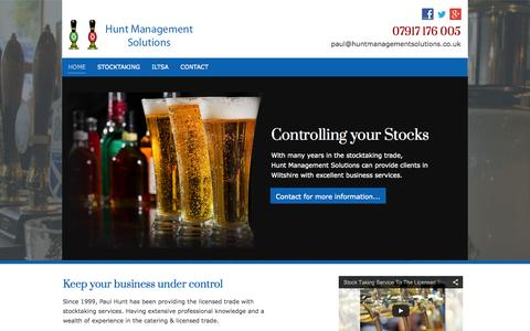 Screenshot of Home Page huntmanagementsolutions.co.uk - Professional stock management in Wiltshire from Hunt Management Solutions - captured Oct. 2, 2014