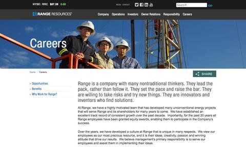 Screenshot of Jobs Page rangeresources.com - Range Resources - Careers - captured Oct. 29, 2014