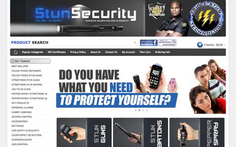Screenshot of Home Page stunsecurity.com - StunSecurity.com - Buy Stun Guns Online - captured Sept. 23, 2014