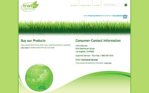 Screenshot of Contact Page irwinnaturals.com - Contact Us | Store Locator | Irwin Naturals - captured Oct. 29, 2014