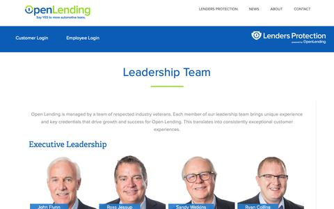 Screenshot of Team Page openlending.com - Leadership Team – Open Lending - captured Nov. 18, 2018