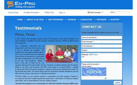 Screenshot of Testimonials Page en-proinc.com - Testimonials - captured Oct. 2, 2014