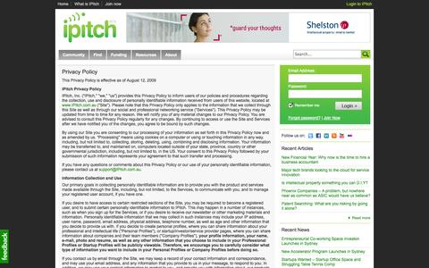 Screenshot of Privacy Page ipitch.com.au - IPitch - Privacy Policy - captured Sept. 19, 2014