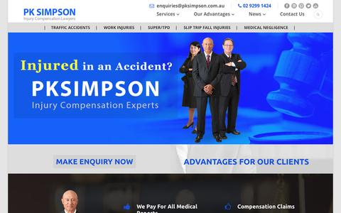 Screenshot of Home Page pksimpson.com.au - NSW Injury Compensation Lawyers Sydney - PK Simpson - captured Jan. 24, 2016