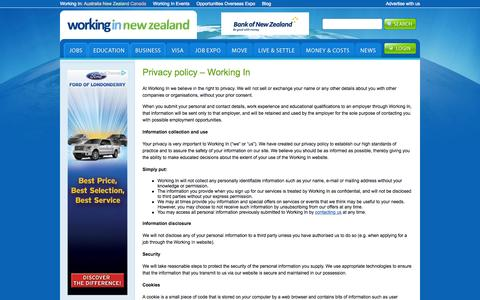 Screenshot of Privacy Page workingin-newzealand.com - Privacy policy - Working In | Working In New Zealand - captured Aug. 10, 2015