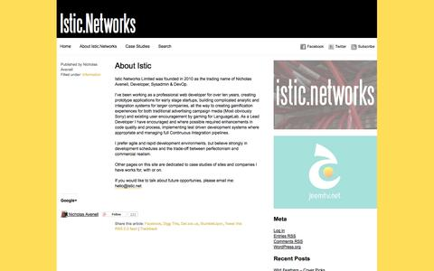 Screenshot of About Page istic.net - Istic Networks » About Istic - captured Oct. 6, 2014