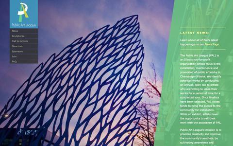 Screenshot of Home Page publicartleague.org - Home | Public Art League - captured Sept. 30, 2014