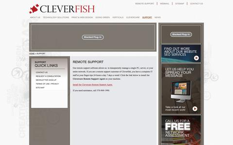 Screenshot of Support Page cleverfish.com - CLEVERFISH | REMOTE SUPPORT | Scranton, PA, Wilkes-Barre, PA - captured July 18, 2018
