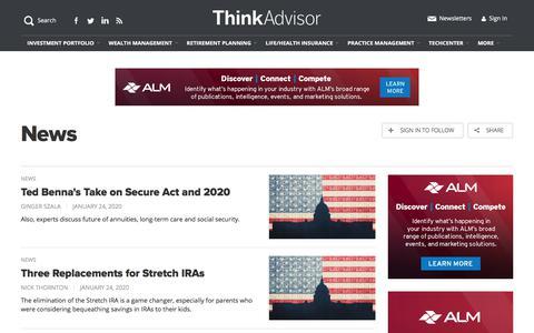 Screenshot of Press Page thinkadvisor.com - Investment News & Analysis for Financial Advisors   ThinkAdvisor - captured Jan. 24, 2020