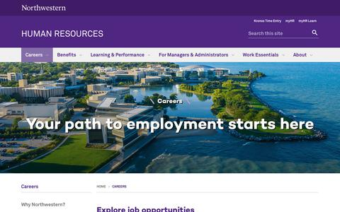 Screenshot of Jobs Page northwestern.edu - Careers: Human Resources - Northwestern University - captured Feb. 12, 2019