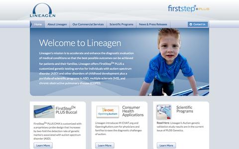 Screenshot of Home Page lineagen.com - Lineagen - Home - captured Sept. 16, 2014