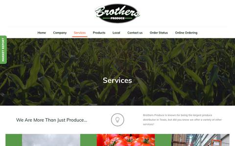 Screenshot of Services Page brothersproduce.com - Services – Brothers Produce - captured Aug. 4, 2018