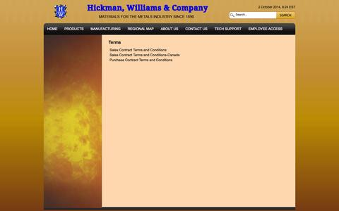 Screenshot of Terms Page hicwilco.com - Terms | Hickman, Williams & Company - captured Oct. 2, 2014