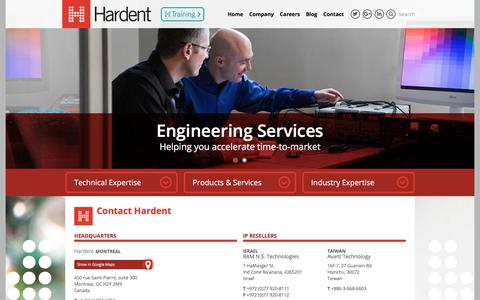 Screenshot of Contact Page hardent.com - Contact Hardent Electronic Design Company: Electronic Design Services - captured July 17, 2017
