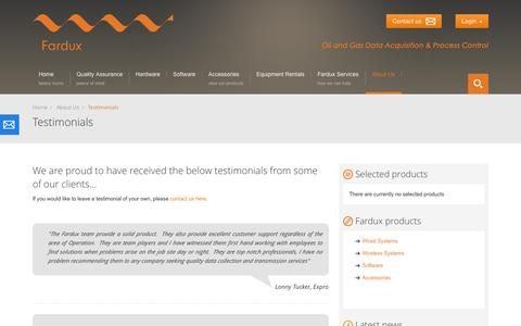 Screenshot of Testimonials Page fardux.co.uk - Fardux | Testimonials - captured Sept. 30, 2014