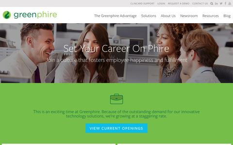 Screenshot of Jobs Page greenphire.com - Careers - Greenphire - captured May 27, 2016
