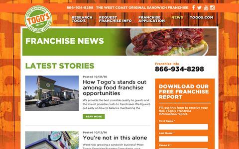 Screenshot of Press Page togosfranchise.com - Blog - Togo's Sandwich Franchise - captured Jan. 11, 2017