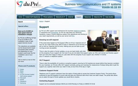 Screenshot of Support Page dupre.co.uk - Support | du Pre plc business telephone systems and IT networks, Newbury, Berkshire - captured Oct. 5, 2014