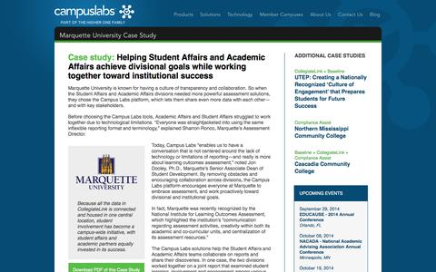 Screenshot of Case Studies Page campuslabs.com - Marquette University Case Study «  Campus Labs - captured Sept. 23, 2014