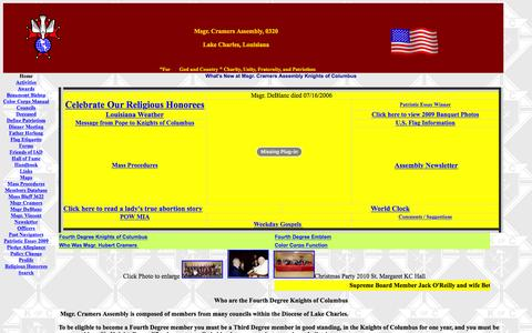 Screenshot of Home Page msgrcramers.com - msgr cramers assembly knights of columbus - captured June 14, 2016
