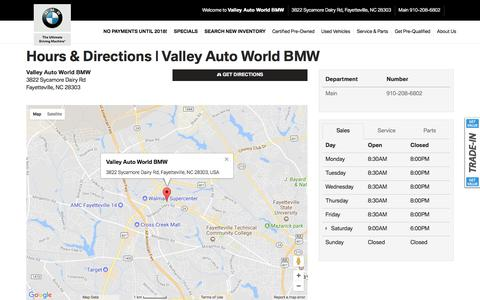 Screenshot of Hours Page valleyautoworldbmw.com - Hours | Directions | Hours Of Operation | Valley Auto World BMW - captured Nov. 11, 2017