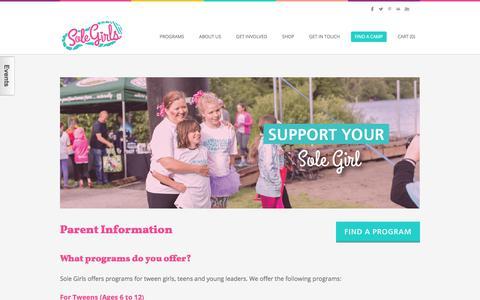 Screenshot of FAQ Page solegirls.org - Parent Information - Sole Girls - captured June 15, 2017