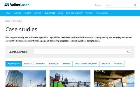 Screenshot of Case Studies Page volkerlaser.co.uk - Case studies         -     VolkerLaser - captured Nov. 12, 2017