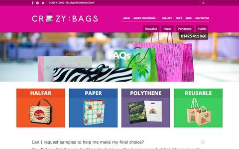 Screenshot of FAQ Page crazybags.co.uk - FAQ's - CrazyBags - captured Dec. 13, 2015