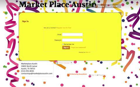 Screenshot of Login Page marketplaceaustin.com - Login - captured Sept. 20, 2018