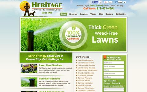 Screenshot of Home Page heritagelawnskc.com - Kansas City Lawn Care and Sprinkler Repair Services | Heritage Lawns - captured Oct. 2, 2014