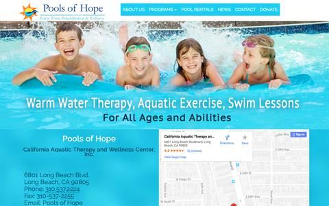 Screenshot of Contact Page caaquatictherapy.com - Long Beach Warm Water Therapy California Pools of Hope - captured Oct. 21, 2018