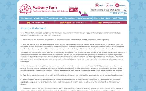 Screenshot of Privacy Page mulberrybush.co.uk - Privacy Statement   Mulberry Bush   Data Protection Act & Cookies - captured Nov. 6, 2016