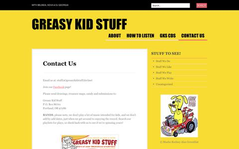 Screenshot of Contact Page wordpress.com - Contact Us | Greasy Kid Stuff - captured Sept. 12, 2014
