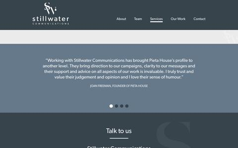 Screenshot of Services Page stillwater.ie - Services - Stillwater Communications | Media Training | PR - captured Feb. 16, 2016