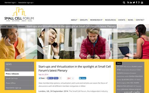Screenshot of Press Page smallcellforum.org - Start-ups and Virtualization in the spotlight at Small Cell Forum's latest Plenary - Small Cell Forum - captured July 3, 2015