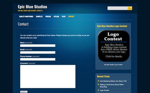 Screenshot of Contact Page epicbluestudios.com - Epic Blue Studios | Contact - captured Sept. 30, 2014
