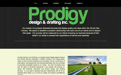 Screenshot of Home Page prodigydd.com - Prodigy Design and Drafting Calgary - captured Oct. 3, 2014