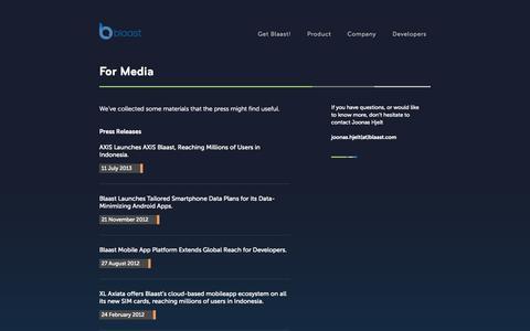 Screenshot of Press Page blaast.com - Blaast - captured Sept. 13, 2014