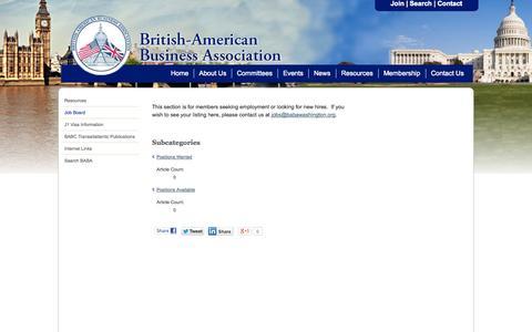 Screenshot of Jobs Page babawashington.org - Job Board - British-American Business Association - captured Oct. 3, 2014