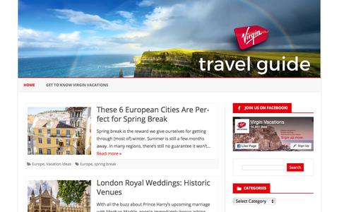 Screenshot of Blog virgin-vacations.com - Virgin Vacations Travel Guide - Your Guide to Travel Destinations Around the World - captured Jan. 14, 2018