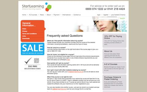 Screenshot of FAQ Page start-learning.co.uk - Start Learning - FAQs - captured Sept. 26, 2014