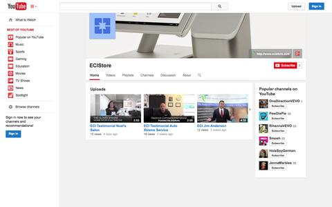 Screenshot of YouTube Page youtube.com - ECIStore  - YouTube - captured Oct. 22, 2014