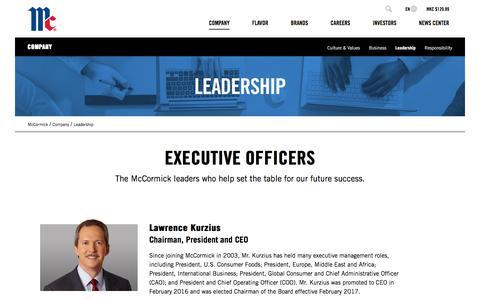 Screenshot of Team Page mccormickcorporation.com - Leadership | McCormick Corporation - captured Sept. 19, 2018