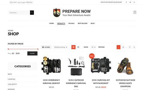 Screenshot of Products Page prepare-now.com - Products Archive - Prepare Now - captured June 30, 2018