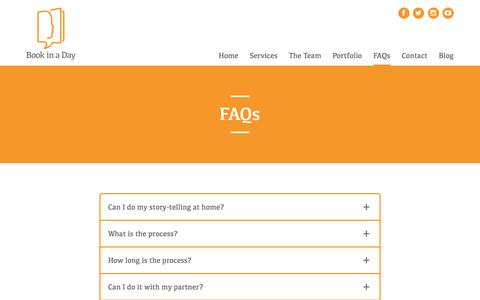 Screenshot of FAQ Page bookinaday.net - FAQs - Book In A DayBook In A Day - captured July 29, 2016