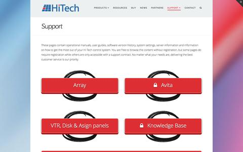 Screenshot of Support Page hitechsys.com - Support - Hi Tech Systems - captured Nov. 8, 2016
