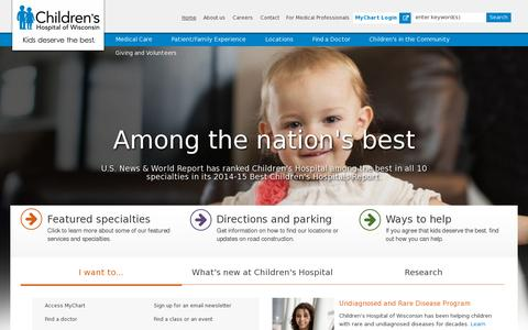 Screenshot of Home Page chw.org - Home | Children's Hospital of Wisconsin - captured July 11, 2014